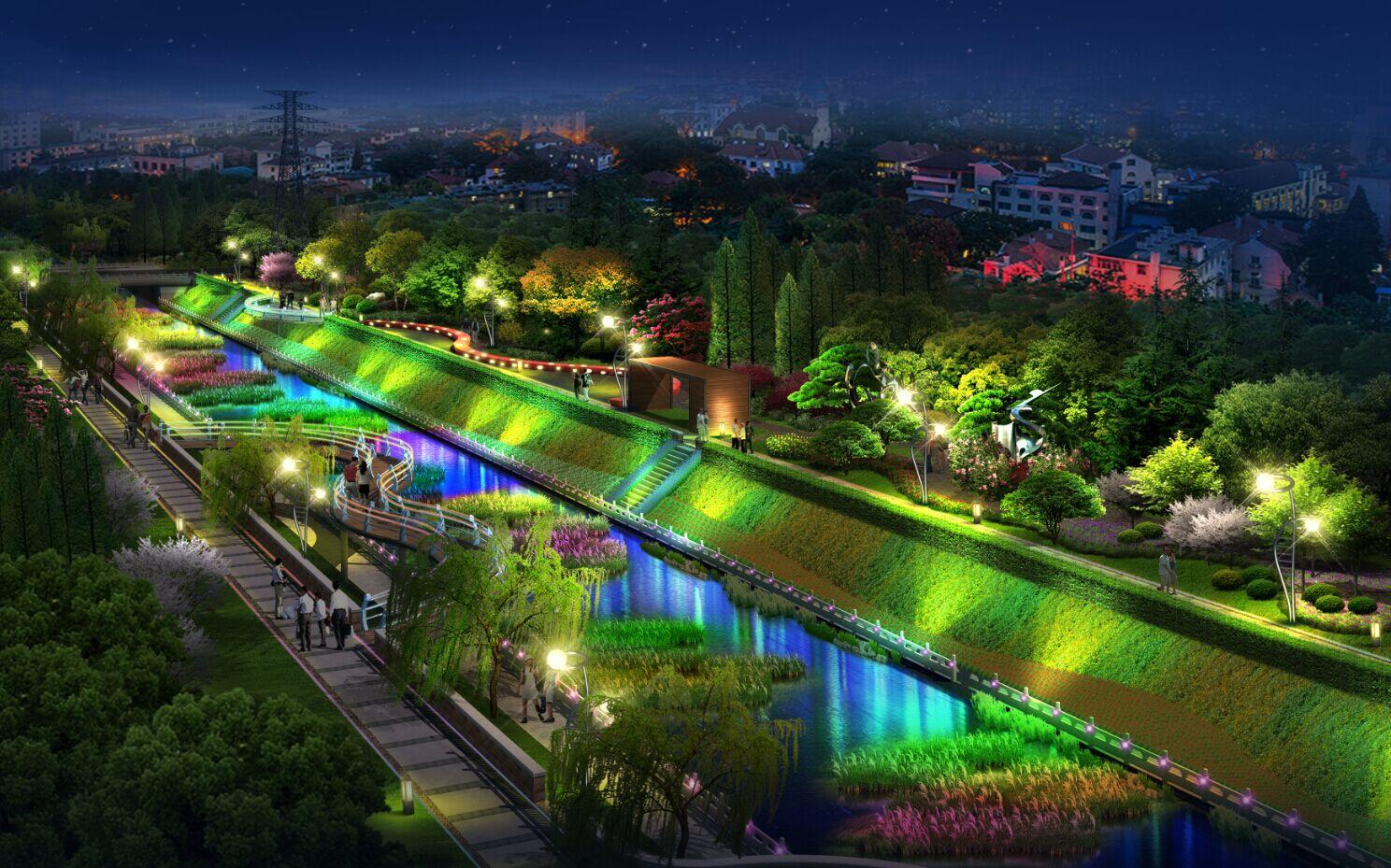 设计内容:西冯河(规划二十五路—月亮湾路路段)河道整治(景观